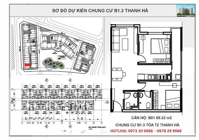 Sơ đồ mặt bằng chi tiết căn hộ B01 tòa T2 chung cư b1.3 Thanh Hà