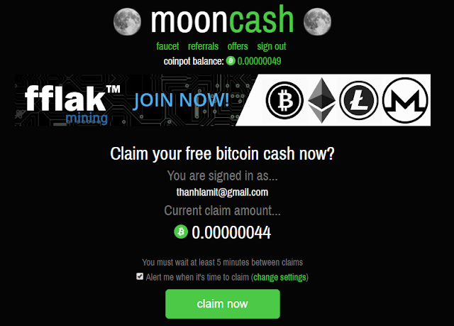 Claim bitcoin cash