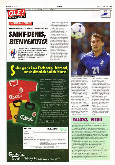 WORLD CUP 1998 ITALIA VS NORWEGIA 1-0 SAINT-DENIS, BIENVENUTO