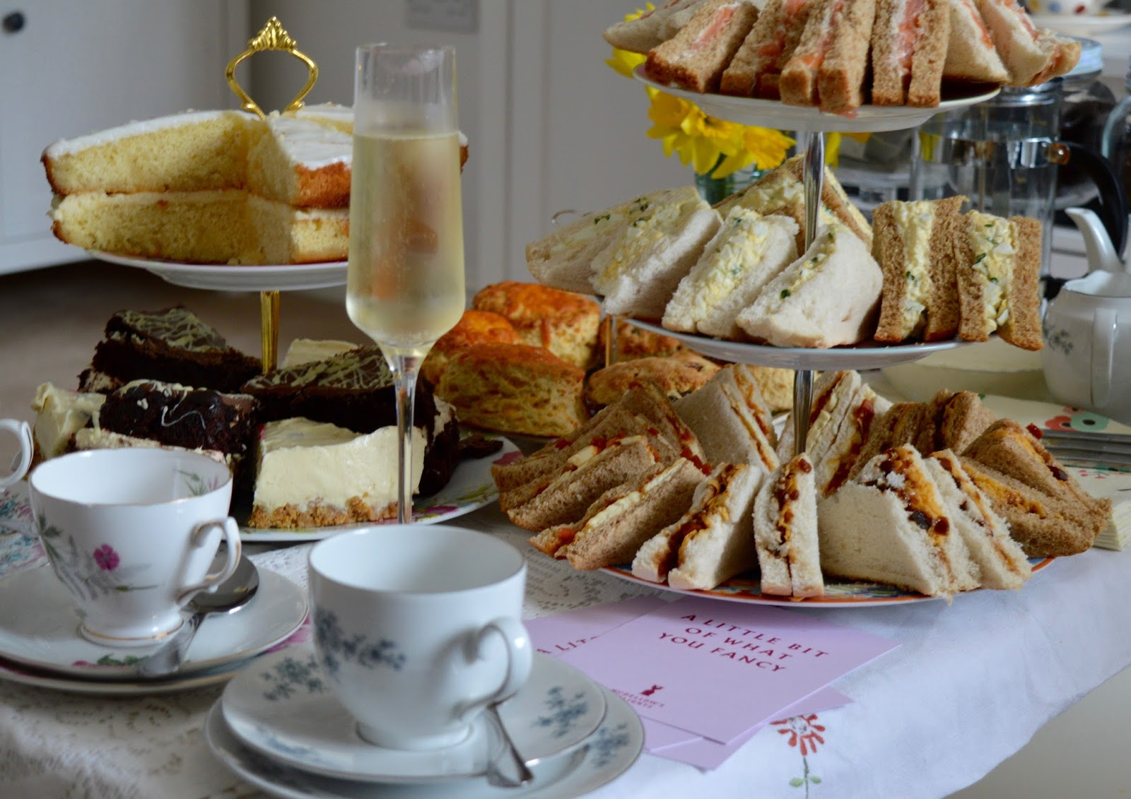 Afternoon Tea delivered in Newcastle with Mrs Dellows Delights - homemade cakes, prosecco and teacups
