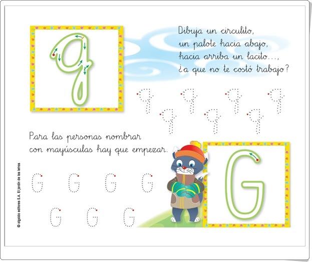 """Letra """"g"""" (El jardín de las letras. Lectoescritura. Consonantes. Algaida +)"""