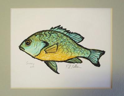 Pat Kellner, P. H. Kellner, P. H. Kellner Art, Texas Freshwater Fly Fishing, TFFF, Texas Fly Fishing, Fly Fishing Texas, Fly Fishing Art, Sunfish Art, Longear Sunfish, Longear Sunfish Art