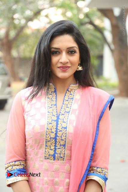 Actress Vimala Raman Stills in Beautiful Pink Salwar Kameez at (ONV) Om Namo Venkatesaya Press Meet  0049.JPG