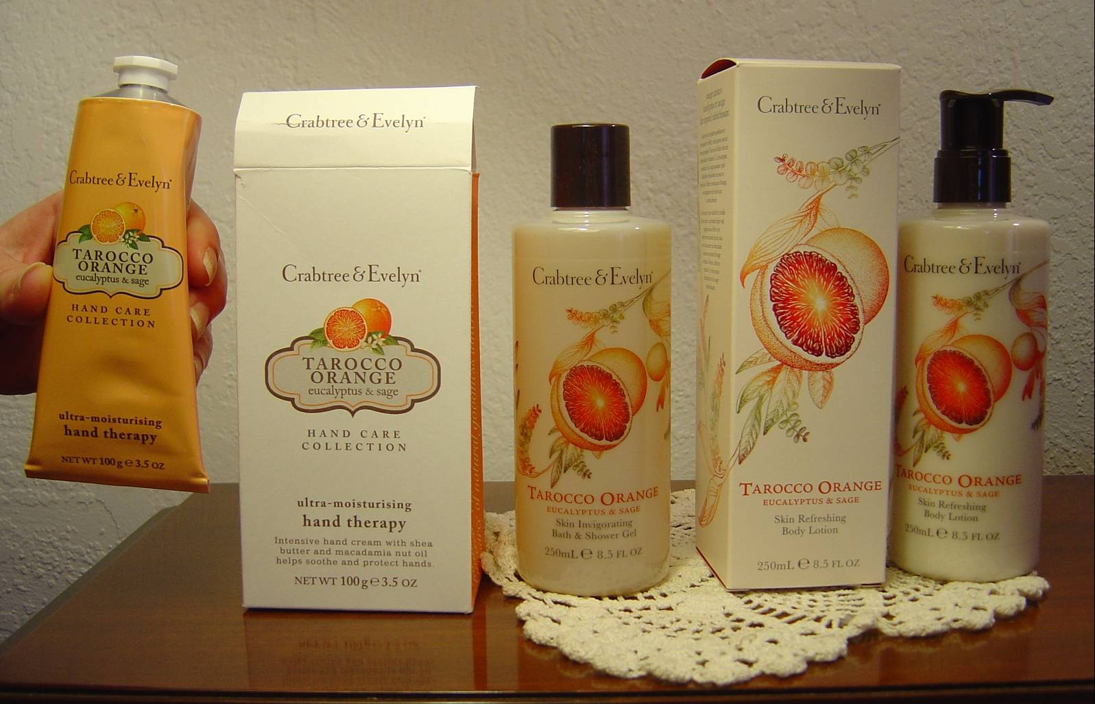 Crabtree & Evelyn's  NEW Tarocco Orange, Eucalyptus & Sage Hand Creme, Body Lotion, and Bath Gel.jpeg