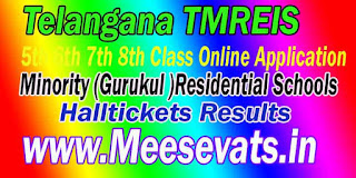 TMREIS Telangana TS Minority (Gurukul )Residential Schools 5th 6th 8th Class Halltickets Results Download