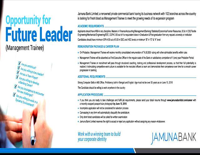 Jamuna Bank Limited BD Job Circular 2016