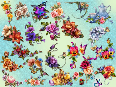 Design element of flowers clipart png