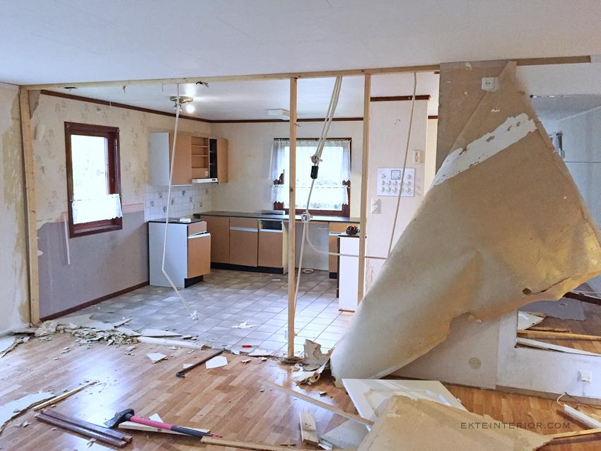 Rive bærevegg mellom kjøkken og stue