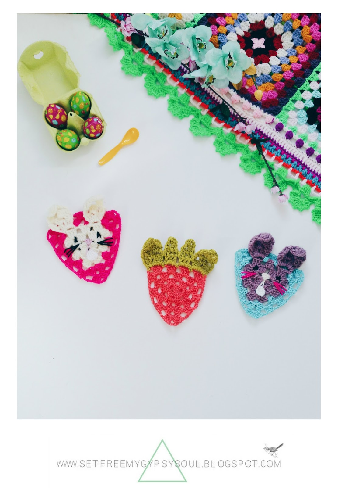 Free Crochet Pattern   Easter Bunny Rabbit Face Granny Square Triangles