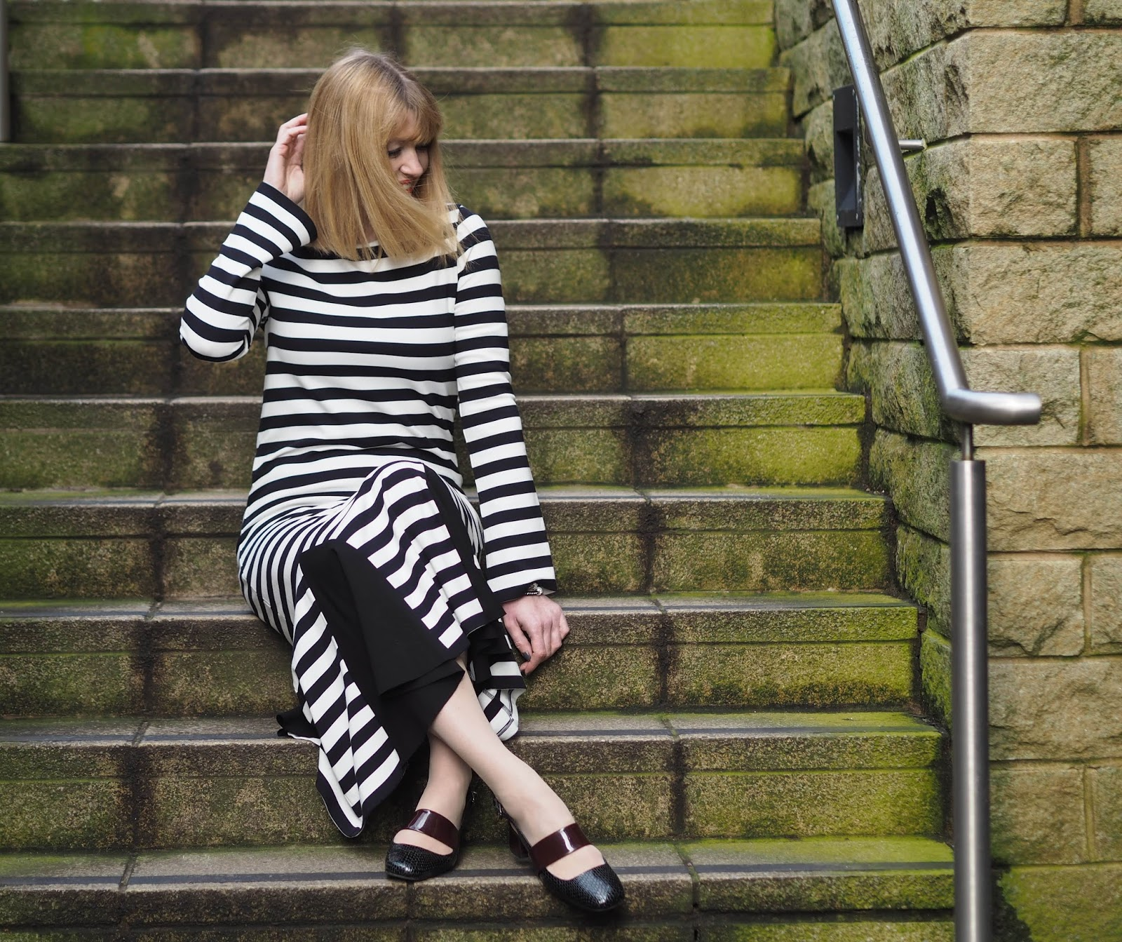 Finery Cygnet black and white striped godet detail dress, over 40 Collective