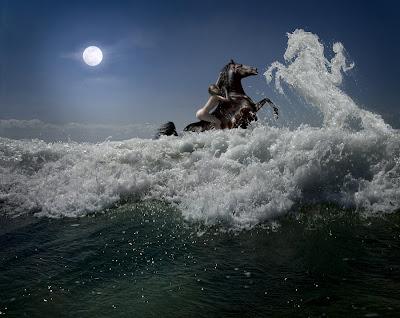 Manipulación digital de imagen increíble mujer bonita playa