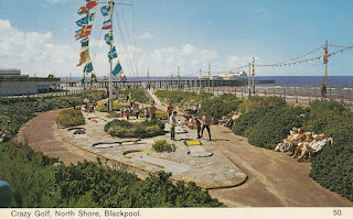 Crazy Golf, North Shore, Blackpool. Bamforth Postcard. Postally unused, but the words 'Visited 14th April 1979' are on the reverse