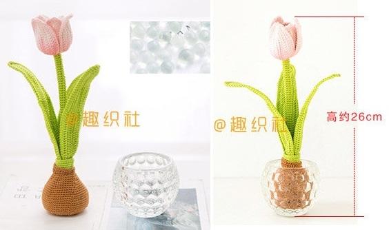 Высота готового цветка, тюльпана с луковицей — 26 см