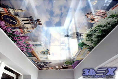 3D ceiling mural, 3d photo printing on false ceiling 2019 for living room