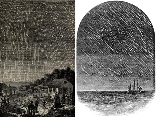 Antigas gravuras mostram a chuva de meteoros Leônidas em 1833 (esquerda) e em 1799 (direita). Créditos: Adolph Vollmy (1833) / Edward Dunkin (1799)