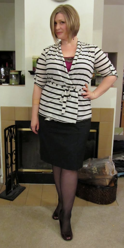 f38ada97530 Striped belted wrap - Maurices   Pinstripe pencil skirt - Lane Bryant    Embellished tank - LOFT   Black nylons - Lane Bryant