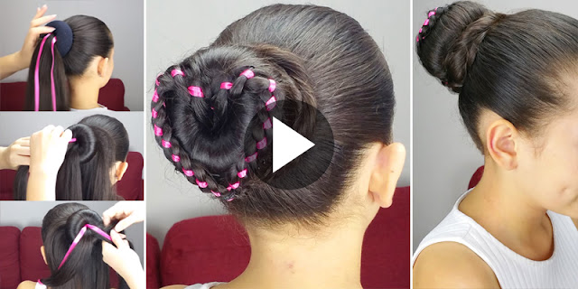 How To Create Ribbon Heart Braided Bun Hairstyle, See Tutorial
