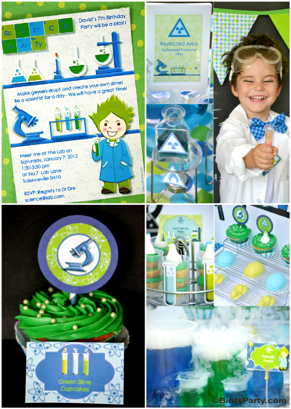 Mad Scientist Birthday Party Ideas and Printables - BirdsParty.com