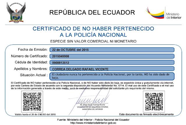 certificado no baja policia nacional