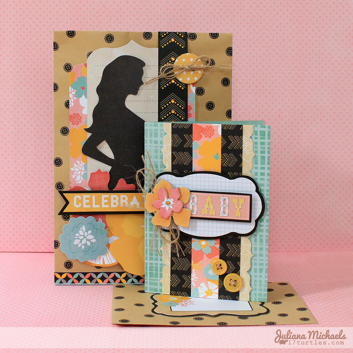Baby Card and Gift Bag by Juliana Michaels featuring BoBunny Baby Bump Collection and Kraft Bags