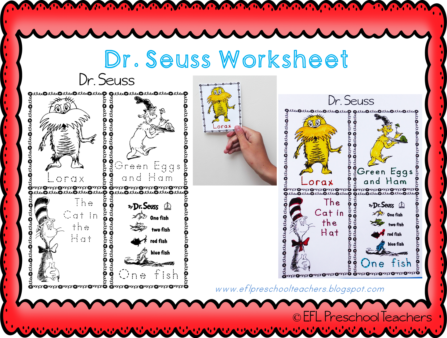 ESL/EFL Preschool Teachers: Dr. Seuss worksheets for ELL