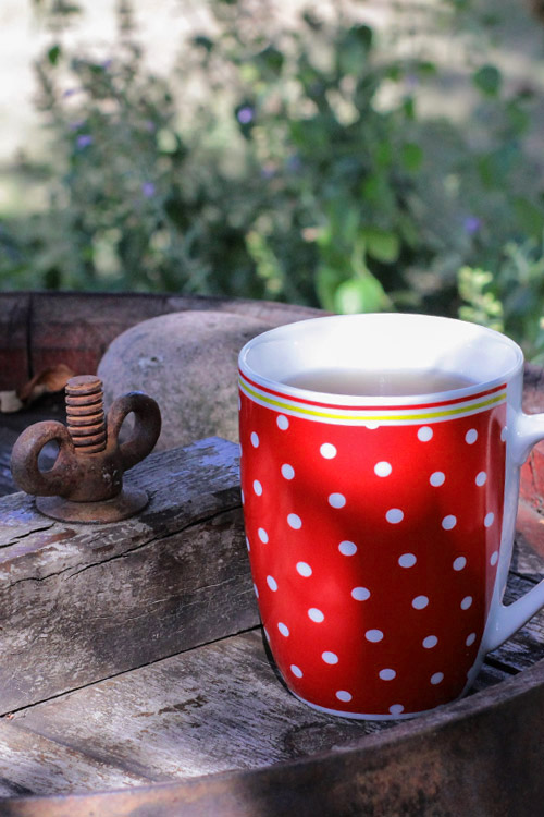 tea time, red cup with dots