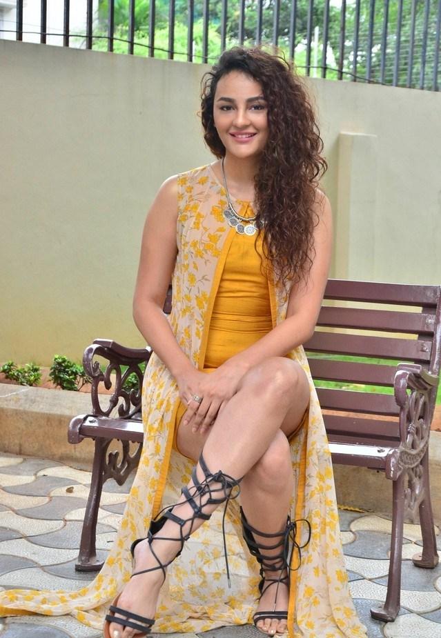 Seerat Kapoor Hot Cross Legs Photos In Yellow Dress Glamorous