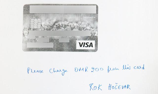 Rent a car Oman, plačilo s kreditno kartico
