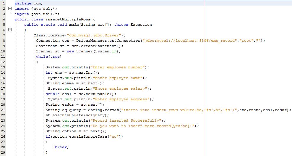 Statement Interface in Java