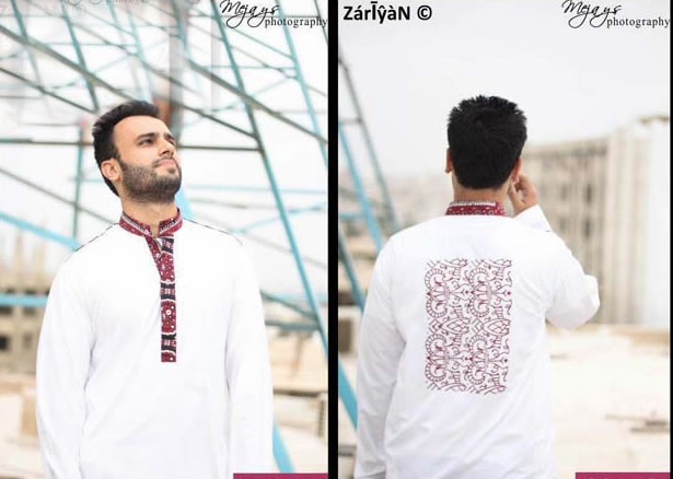 0ef57d1b9b It looks perfect with all colors. Kurta with Contrast Red Ajrak of Sindh  fabric on placket and bid red motive on The back side of dress.