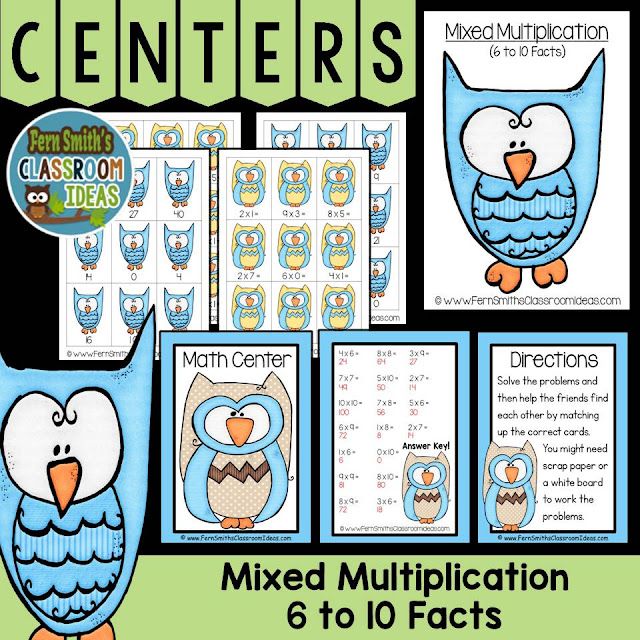Fern Smith's Classroom Ideas Mixed Multiplication Math Center Games 6 to 10 Multiplication Facts at TpT, TeacherspayTeachers.