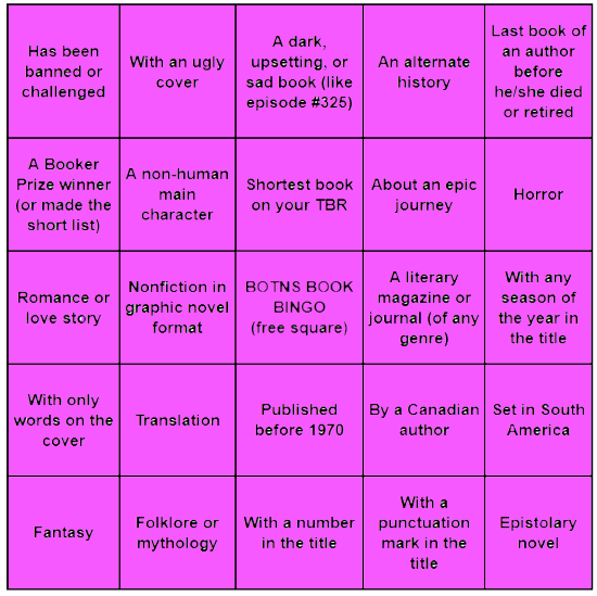 A five by five bookish bingo card containing the categories listed below. All of the squares are daubed in purple.