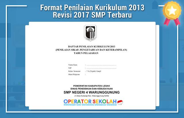Format Penilaian Kurikulum 2013 Revisi 2017 SMP Terbaru