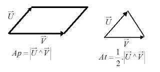 formula produto vetorial paralelogramo triangulo