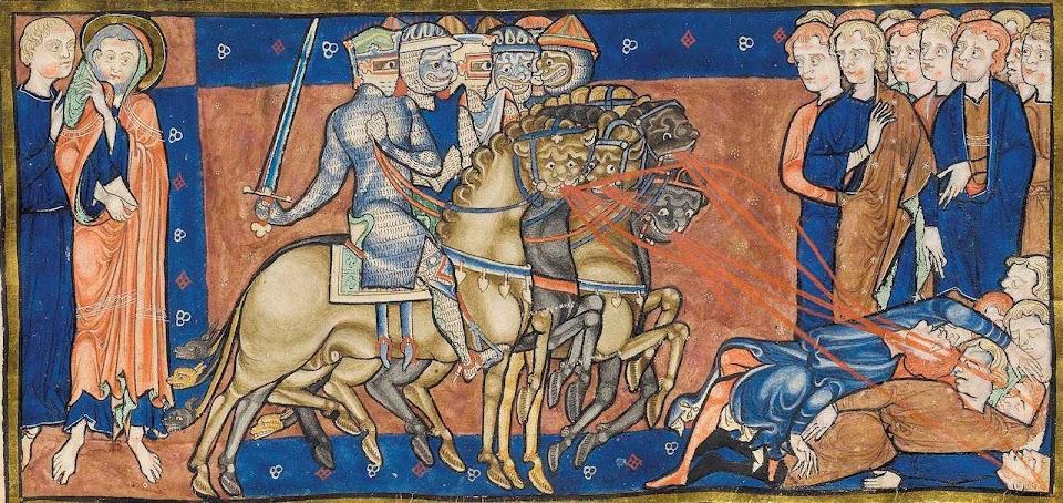 """""""Agora nós lutamos contra um perseguidor que engana, finge ser cristão"""" Trinity Apocalypse, Cambridge R.16  010r."""