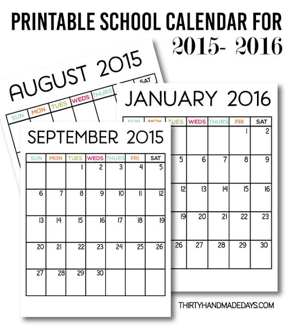 Printable Monthly Planner 2015: 2016 Free Printable Calendars