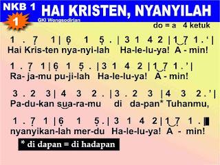 Lirik dan Not NKB 01 Hai Kristen, Nyanyilah