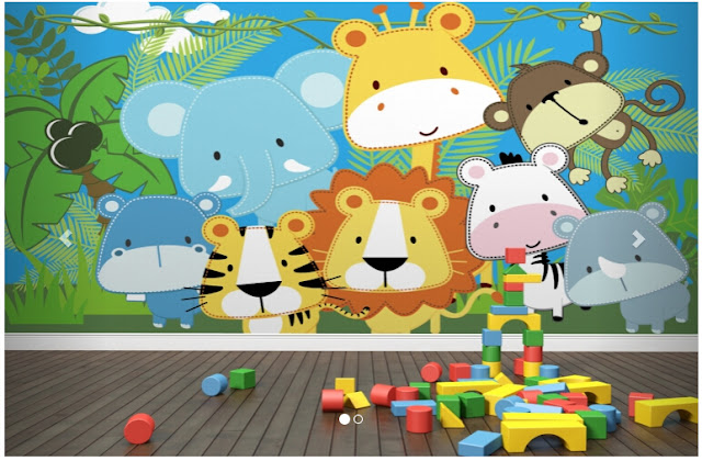 Jungle Wall Mural Kids Room Animals Baby Wallpapers