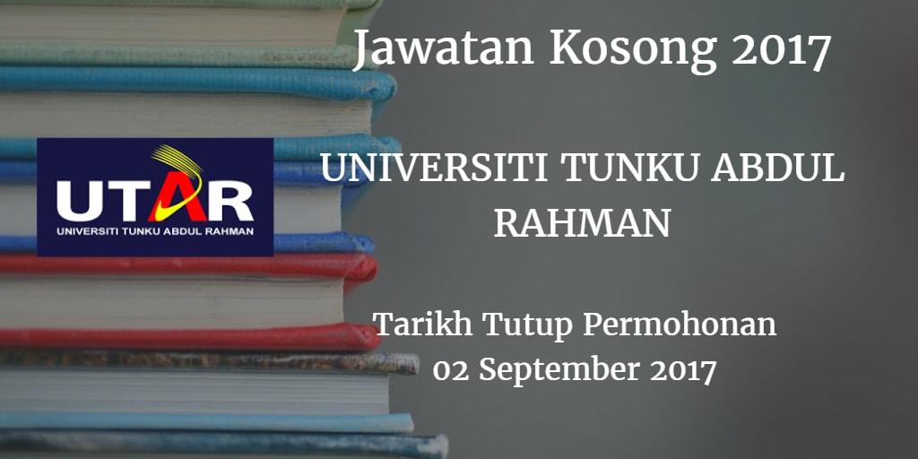 Jawatan Kosong Universiti Tunku Abdul Rahman 02 September 2017