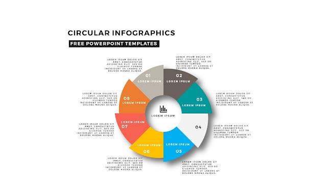 Circular Infographics Free PowerPoint Template with 8 steps