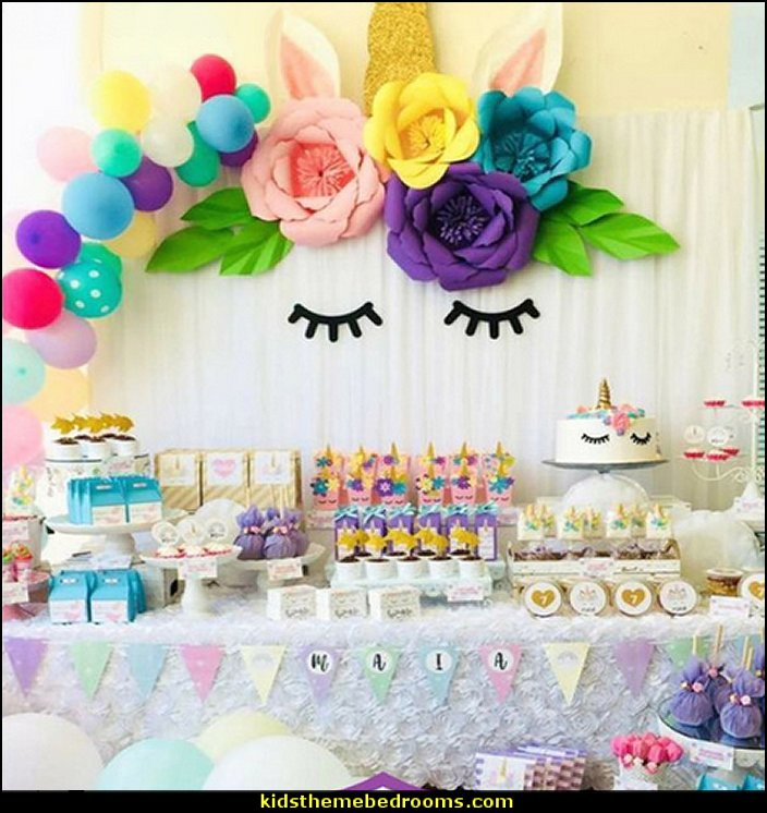 Unicorn Theme Party Sets Birthday Decorations Artificial Rose Flowers Banner Cake Topper Foil Balloons Supply