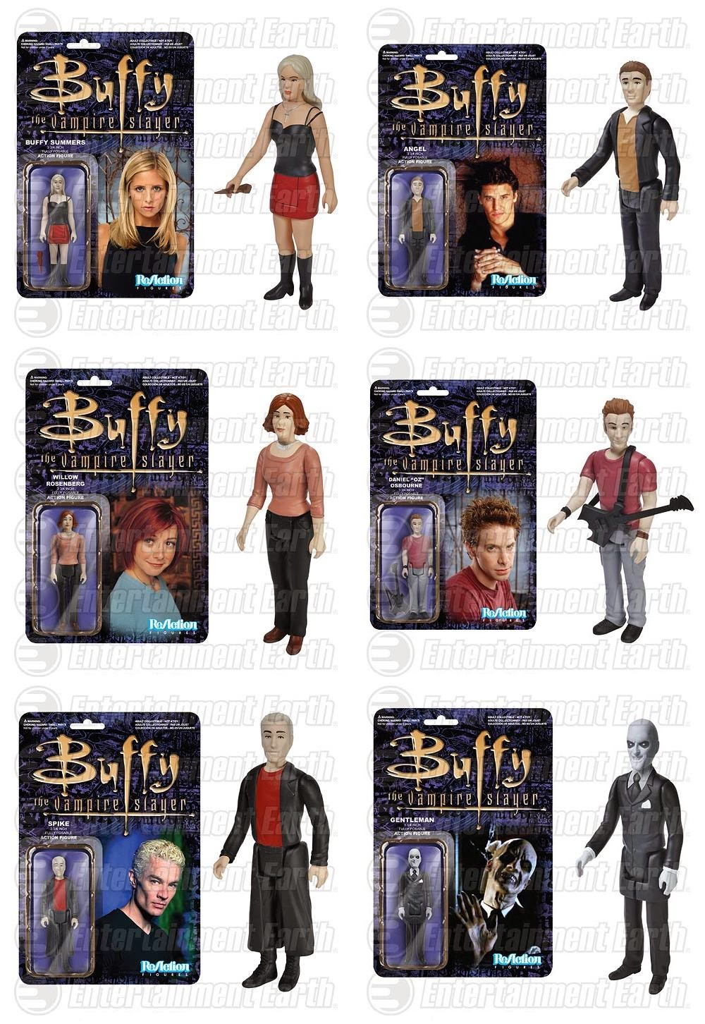 "Buffy the Vampire Slayer ReAction Retro Action Figures by Funko & Super7 - Buffy Summers, Angel, Willow Rosenberg, Daniel ""Oz"" Osbourne, Spike & Gentleman"