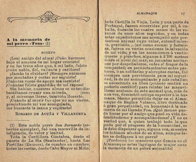 Reproducción de las páginas del Almanaque para 1911 en las que aparece el soneto «A la memoria de mi perro Tom»