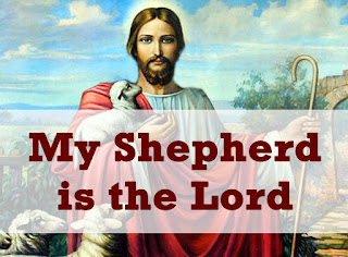 Picture of Jesus the Good Shepherd with several sheep and a lamb, and a shepherd's crook - and the song title superimposed.