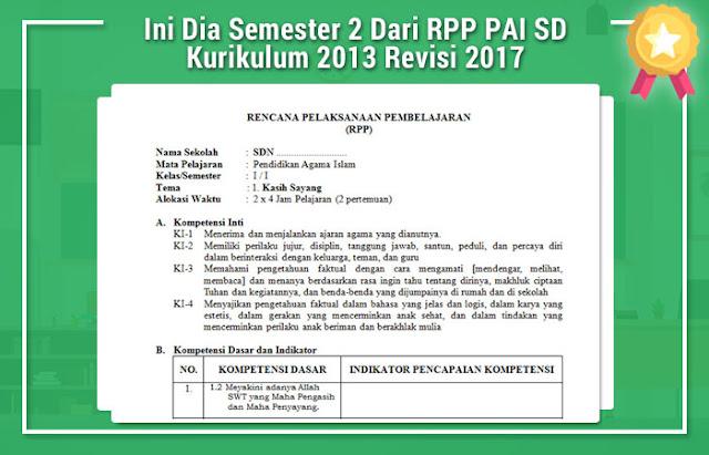 Ini Dia Semester 2 Dari RPP PAI SD Kurikulum 2013 Revisi 2017