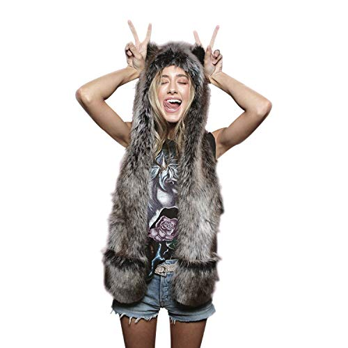 56fda9017f6 Grey Wolf Full Animal Hood Hat Cap Scarf Gloves Mittens Faux Fur Fleece  Lined Interior Anime Spirit Paws Ears Zipper Furry Hoodie 2019