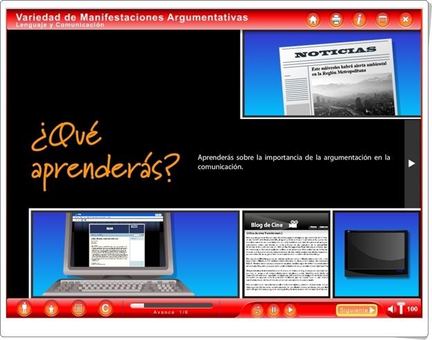 """""""Variedad de Manifestaciones Argumentativas"""" (Aplicación interactiva de Lengua Española de Secundaria)"""