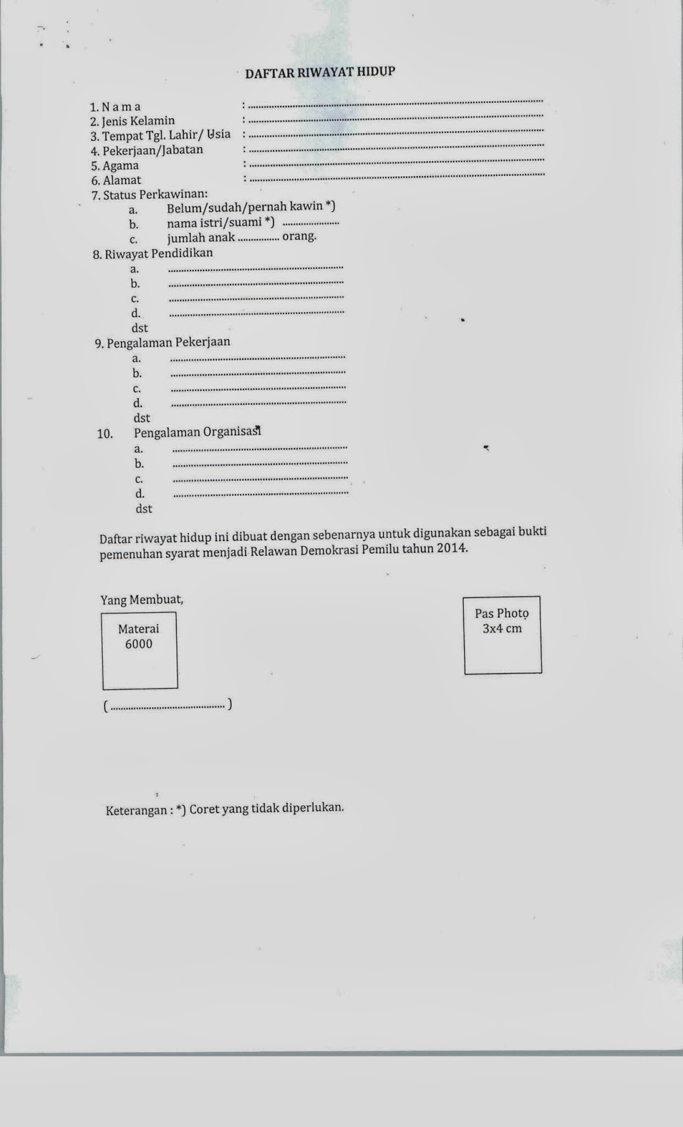 Formulir Pendaftaran Calon Anggota Relawan Kpu Kabupaten Jepara