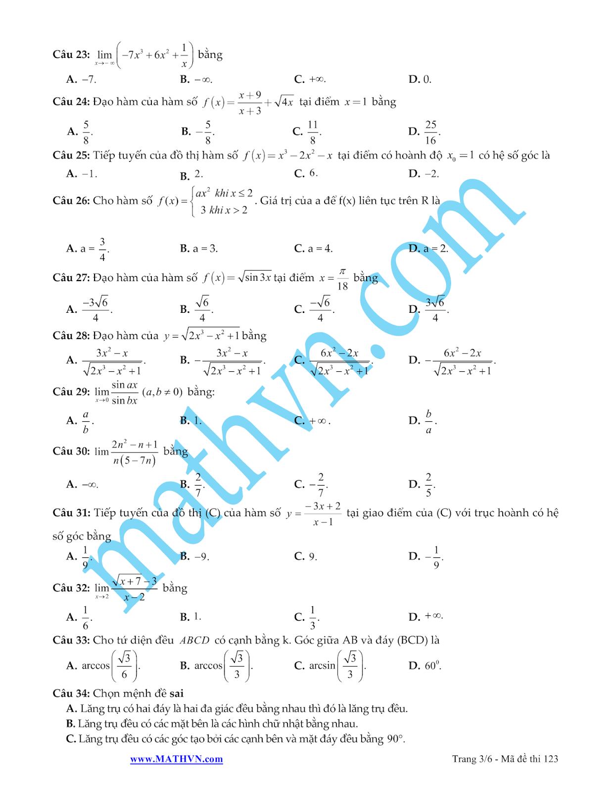 đề thi học kì 2 trắc nghiệm môn toán lớp 11 có đáp án