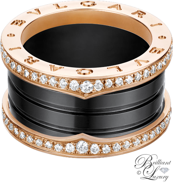 Brilliant Luxury ♦ Bvlgari B.Zero1 4-band ring in 18 kt rose gold and black ceramic with pavé diamonds along the edge